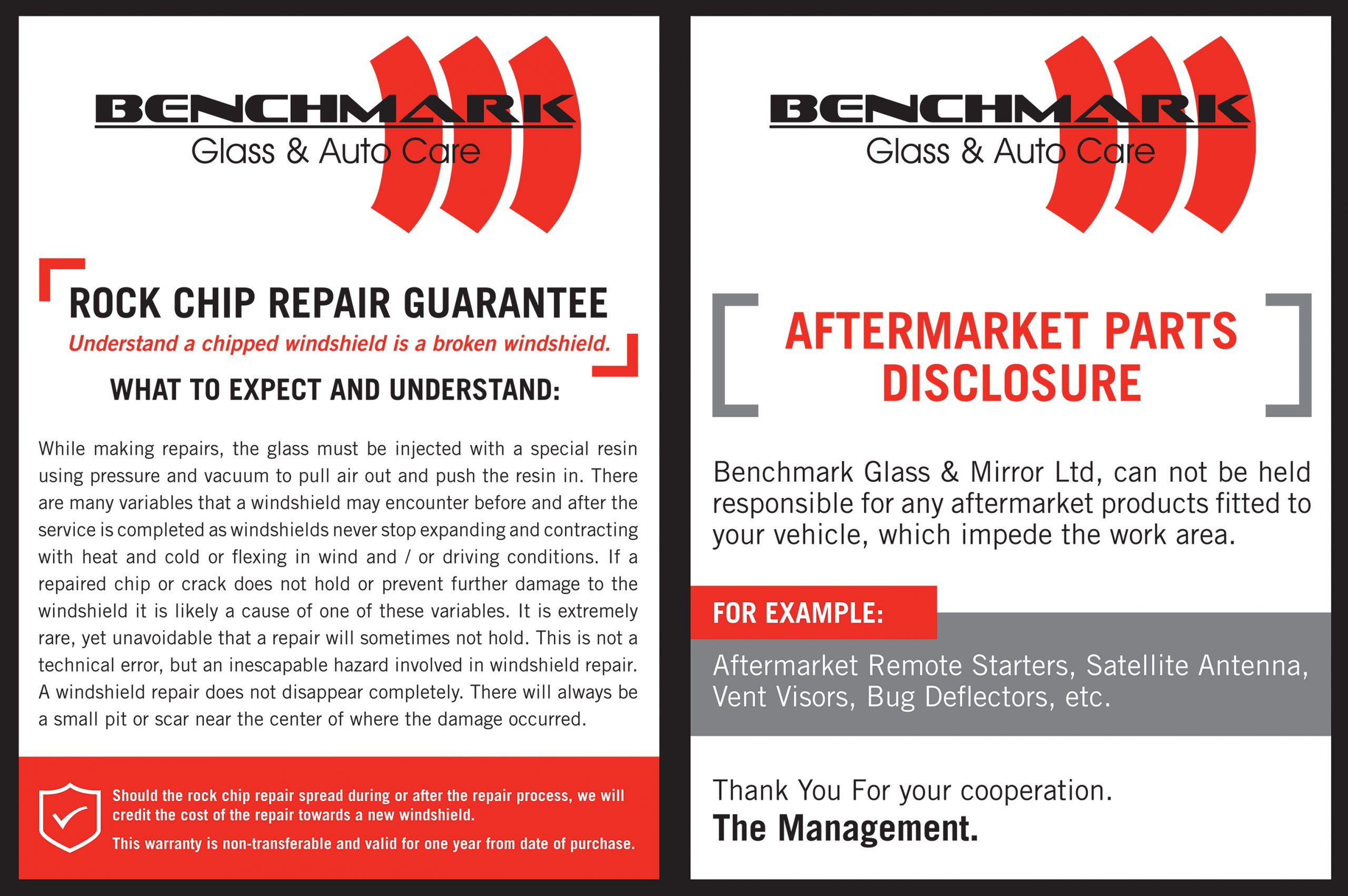 benchmark glass rock chip repair guarantee and aftermarket parts disclosure